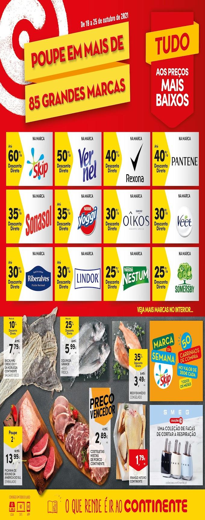 "Folheto CONTINENTE semanal - ""Tudo aos preços + baixos"" - de 19 a 25 de outubro"