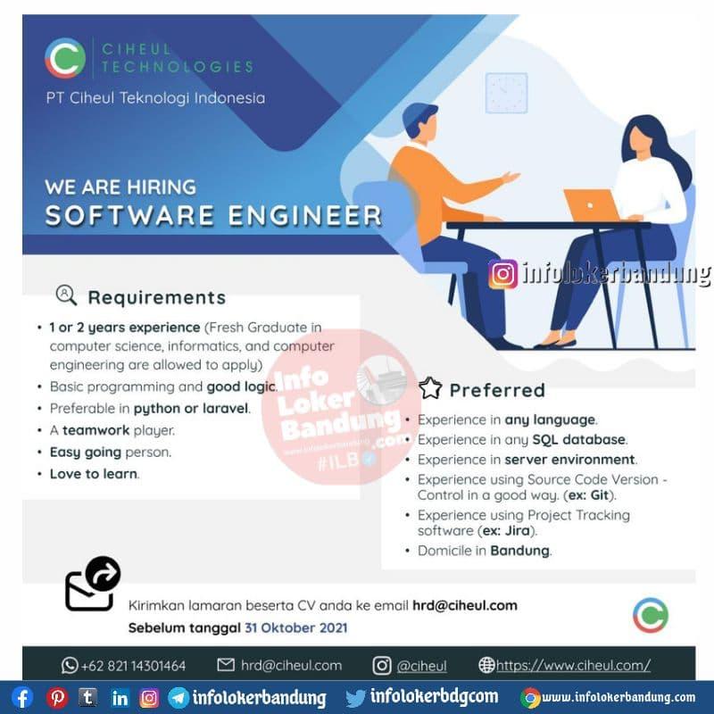 Lowongan Kerja PT. Ciheul Teknologi Indonesia Bandung Oktober 2021