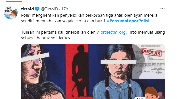Tagar <i>#PercumaLaporPolisi</i> Trending, DPR Kecam Laporan Kasus Pem*rkosaan Anak Ditolak