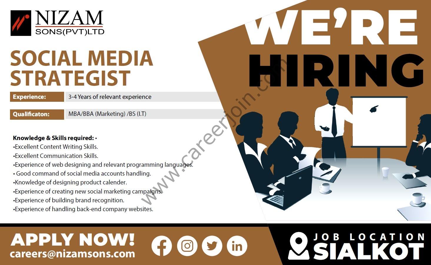 Nizam Sons Pvt Ltd Jobs October 2021