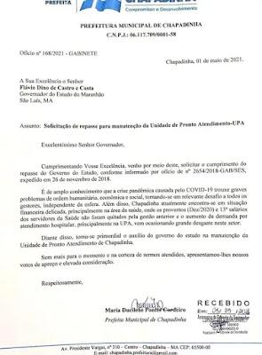 Ofício da prefeita de Chapadinha solicitando que o estado cumpra o compromisso.