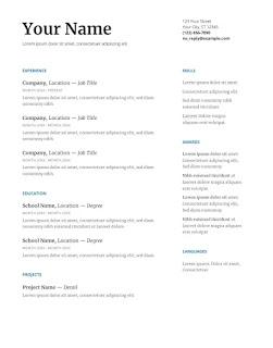 Serif Google docs resume template