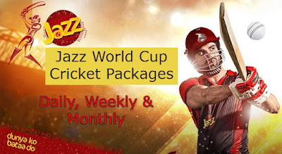 Jazz World Cup Cricket Packages Daily, Weekly & Monthly