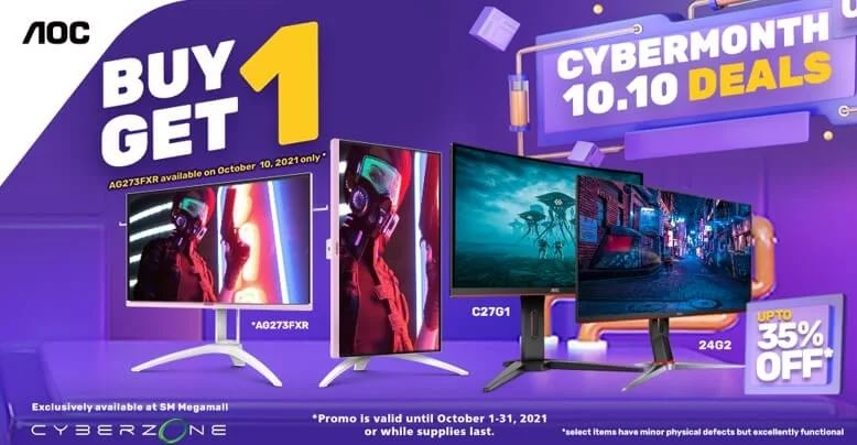 AOC Gaming Monitors on Sale at SM Megamall's Cyber Month Gadget Sale 2021