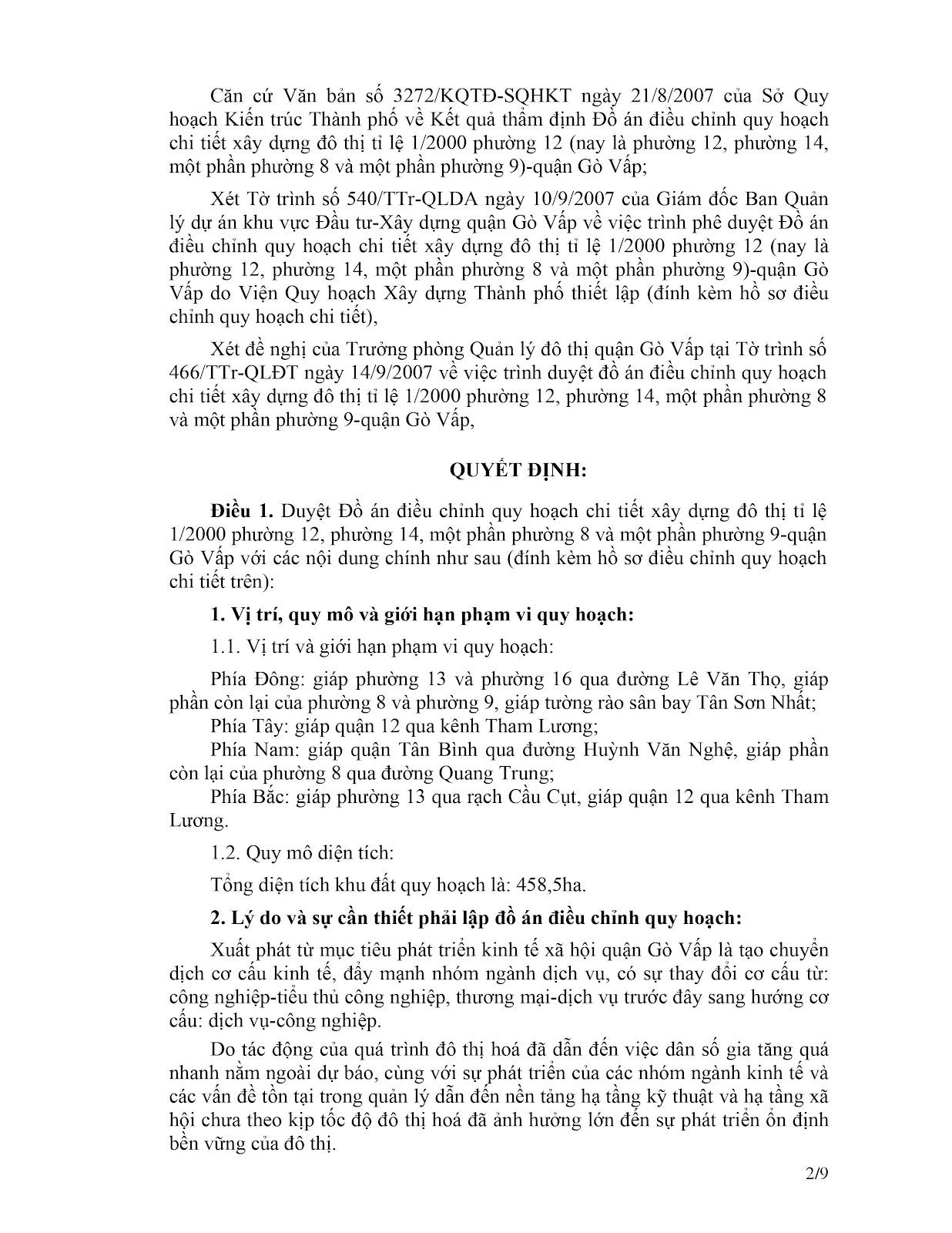 Quyết định số 2145/QĐ-UBND quy hoạch tỉ lệ 1/2000 phường 12 - 14, một phần phường 8 - 9 quận Gò Vấp