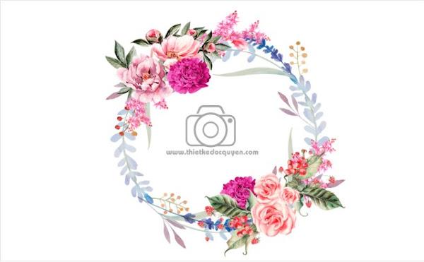 Vector Chùm hoa Bảng tên đám cưới