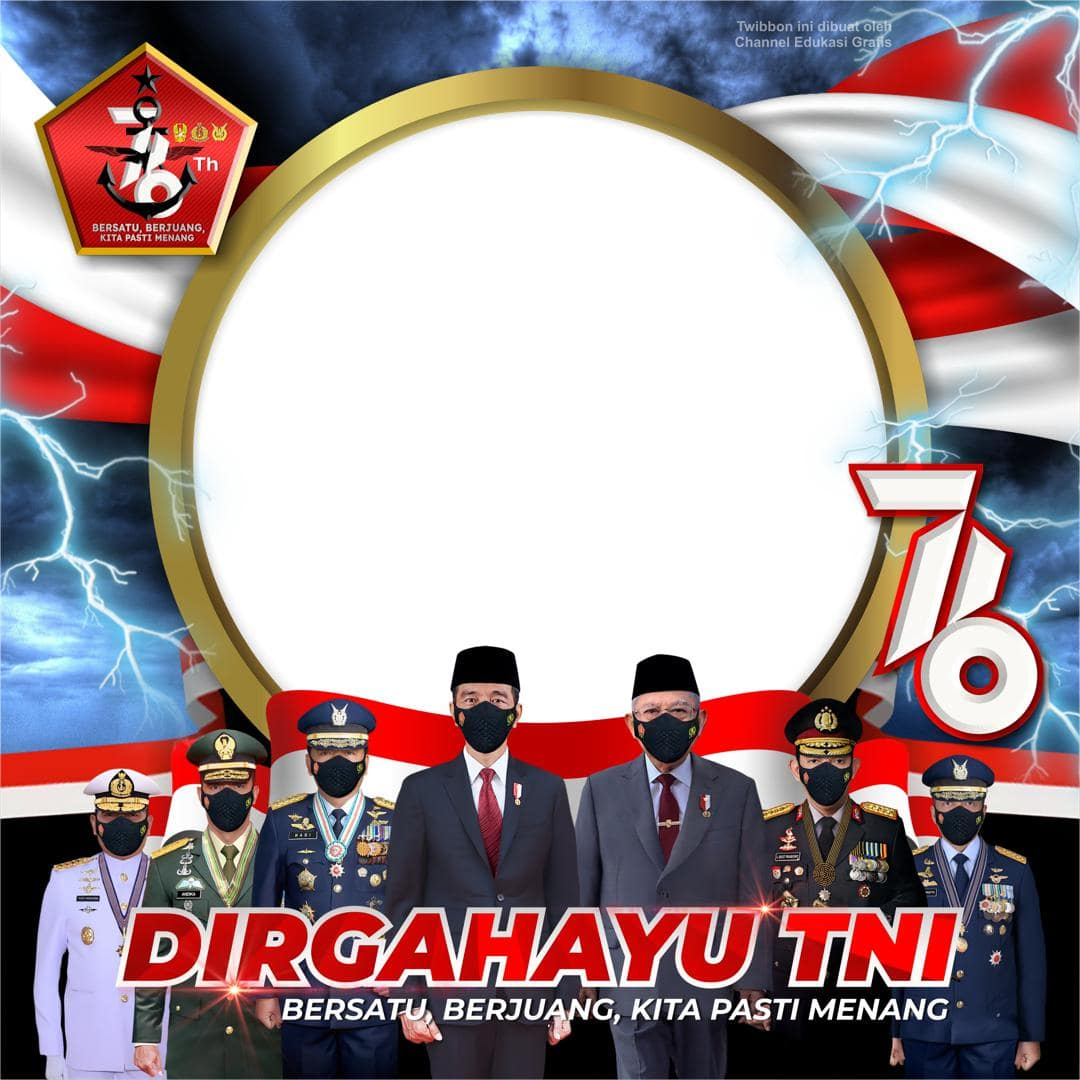 Background Template Frame Bingkai Twibbon Dirgahayu TNI 2021, HUT TNI ke-76