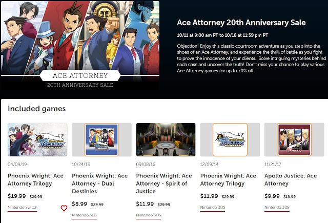 Nintendo eShop Ace Attorney 20th Anniversary Sale Phoenix Wright Apollo Justice Trilogy