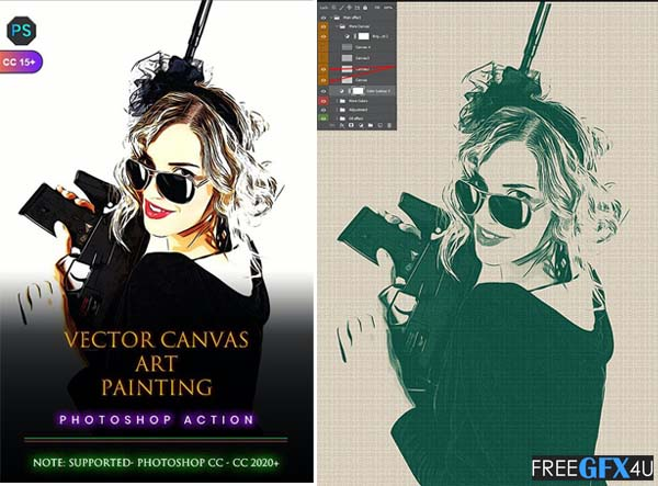 Vector Canvas Art Painting Photoshop Action