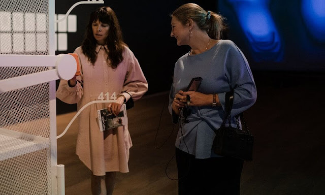 Hereditary Grand Duchess Stephanie wore a silk wool top, blouse from Natan