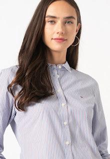 Tommy Hilfiger - Дамска раирана памучна Риза