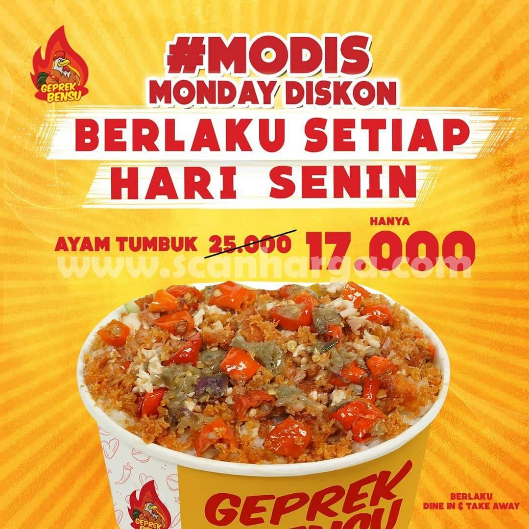 GEPREK BENSU MODIS Promo (MONDAY DISKON) – Harga menu Ayam Tumbuk cuma Rp. 17.000 Aja