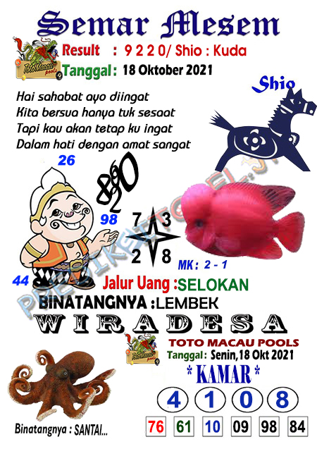 Syair Semar Mesem Togel Macau Senin 18-10-2021