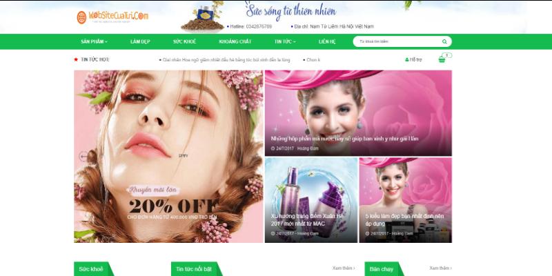 Mẫu website bán mỹ phẩm online