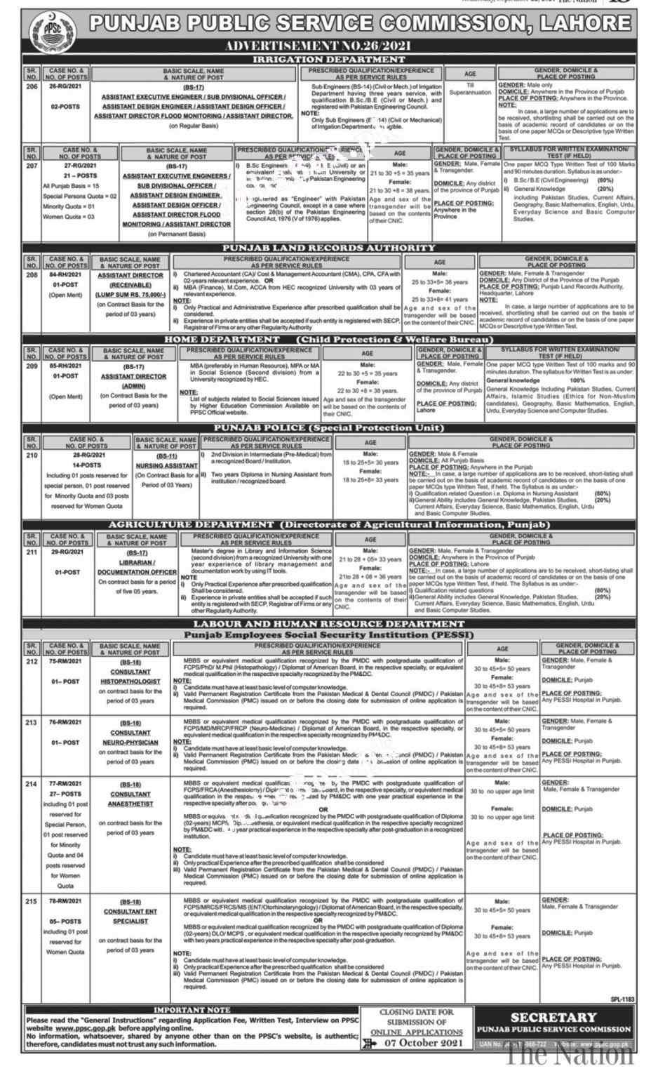 PPSC Apply Online –Jobs Advertisement No. 26