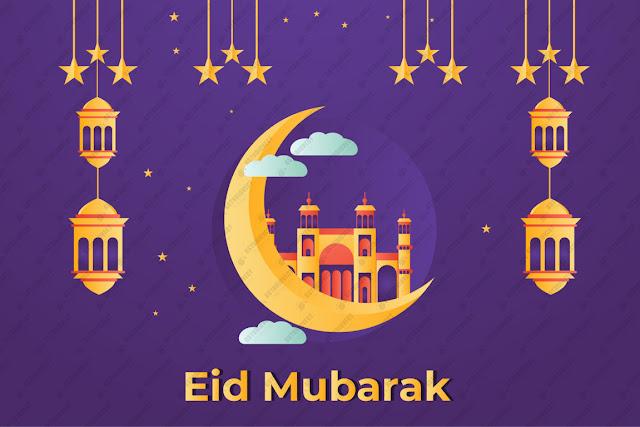 Eid mubarak celebratory illustration free vector download