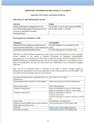AISSEE-2022: All India Sainik Schools Entrance Examination – 2021 – Important Details Here