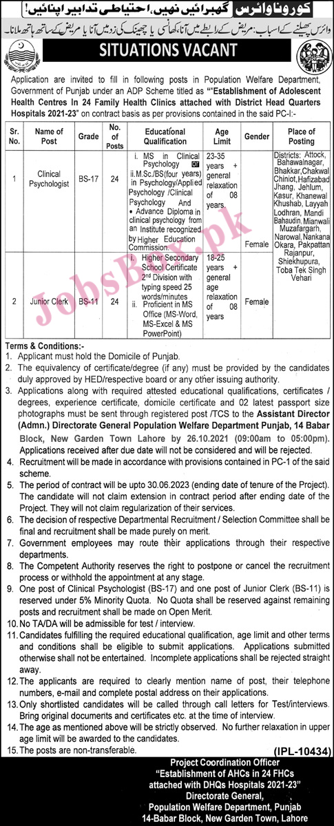Latest-Population-Welfare-Department-Punjab-Jobs-2021