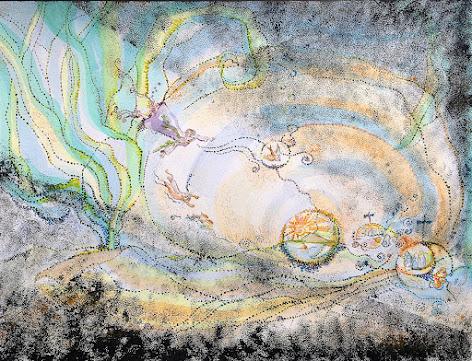 Shore Wonderland watercolor of Palette October by Oiseau Distrait