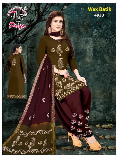 Js Priya Wax Batik Cotton Dress Material Catalog Lowest Price