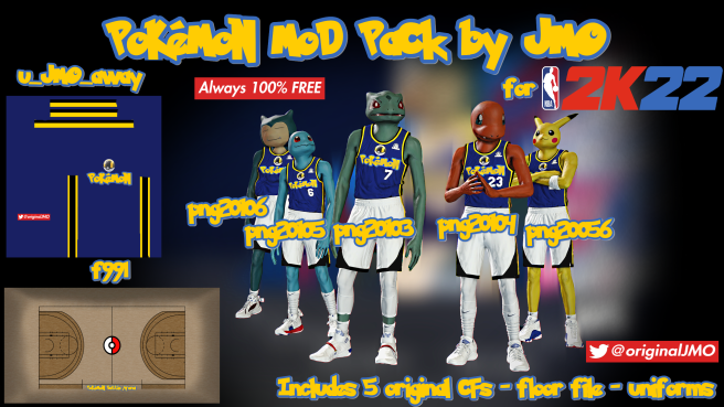 NBA 2K22 Pokemon Mod Pack By JMO - Includes 5 Originals CFs, Court and Jerseys