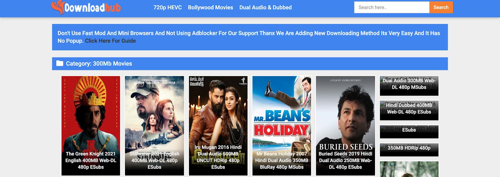 downloadhub 300mb movies