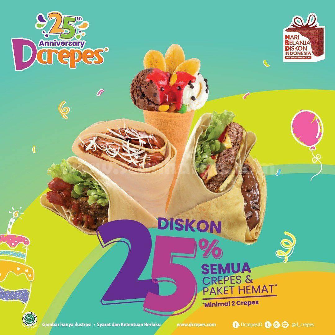 Promo Dcrepes 25Th Anniversary - Diskon 25% Semua Menu + Paket Hemat