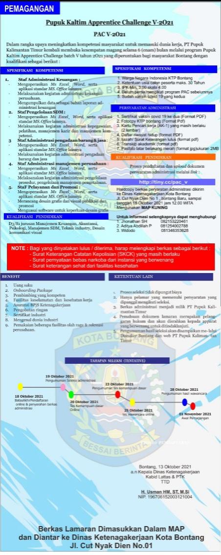 Magang PT Pupuk Kaltim Apprentice Challenge Batch-5 2021