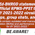 DepEd-BHROD statement on unofficial RPMS-PPST for SY 2021-2022 tools circulating FB groups, group chats, and pages