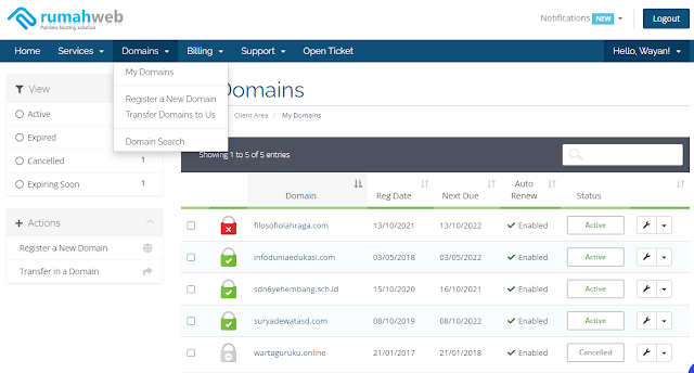 Cara Cek domain di rumah web