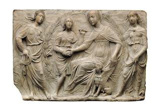 """Una scultura della mostra """"Il corpo e l'anima, da Donatello a Michelangelo. Scultura italiana del Rinascimento"""" al Castello Sforzesco di Milano."""