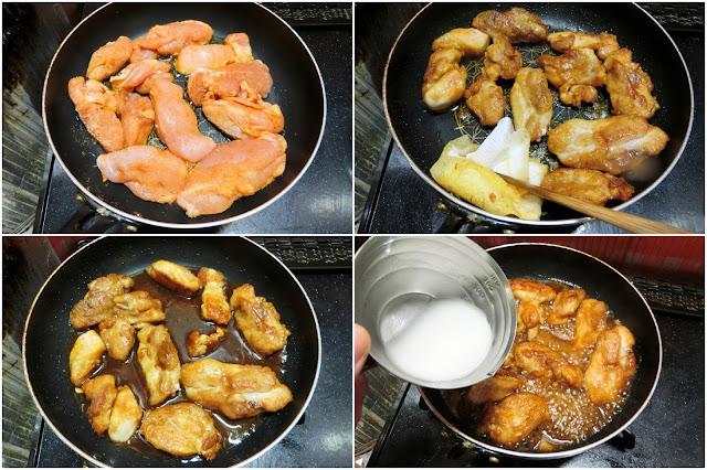 フライパンを熱して油を入れ、鶏肉を並べ入れたら両面こんがりきつね色に焼き色に焼きをつけて焼きます。 キッチンペーパーでフライパンに残った余分な油を拭き取ります。  弱火~中火にしてスパイシーチキンの素に添付されている調味料をまわし入れ混ぜ合わせたら1分程度に絡めます。 水溶き片栗粉をまわし入れ、木べらでかき混ぜながら調味料にとろみをつけたら火を止めます。 とろみ加減はしっかり、煮汁が垂れないように鶏肉に絡めるくらいが目安です。