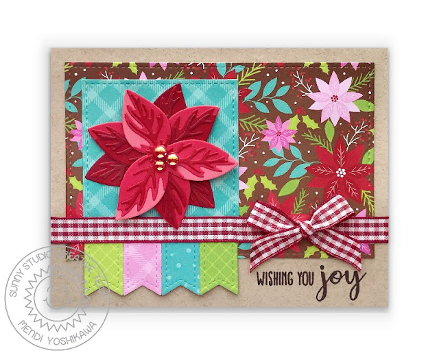 Sunny Studio: Wishing You Joy Christmas Card (using Pristine Poinsettia Dies, Stitched Rectangle Dies, All Is Bright Paper & Holiday Style Stamps)
