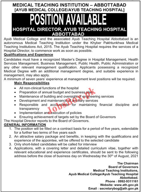 Ayub Medical College Abbottabad Jobs 2021 – ATH-AMC Jobs