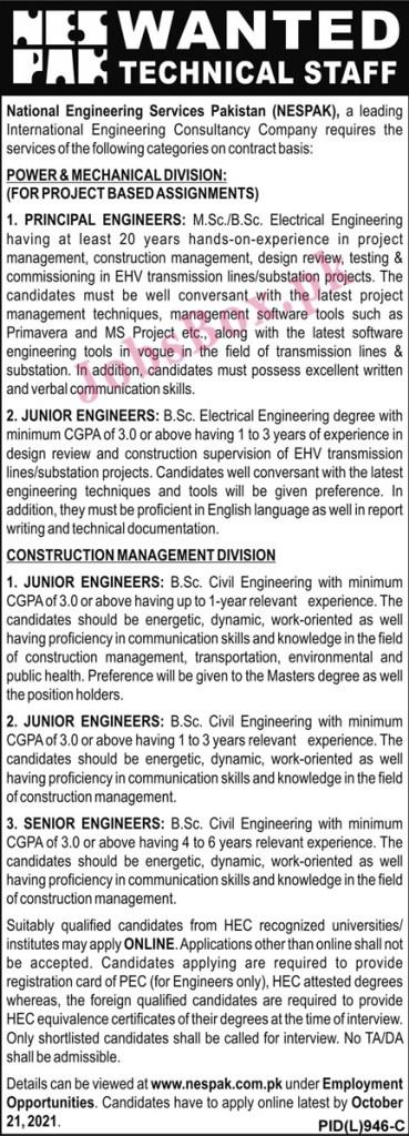 www.nespak.com.pk - NESPAK National Engineering Services Pakistan Jobs 2021 in Pakistan