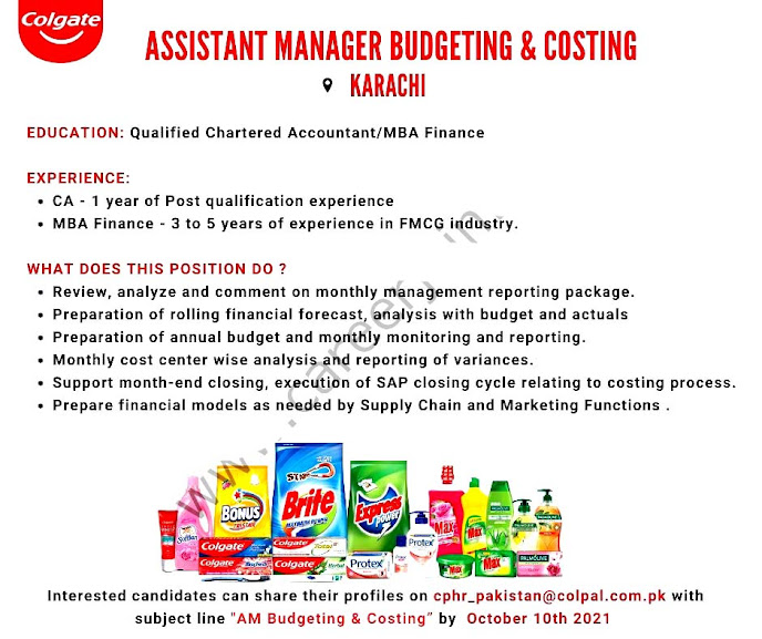 Colgate Palmolive Pakistan Latest  Jobs Assistant Manager Budgeting & Costing