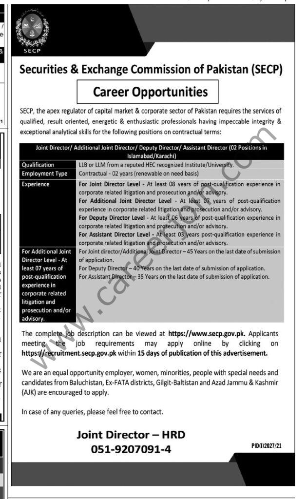 Jobs in Securities & Exchange Commission of Pakistan SECP