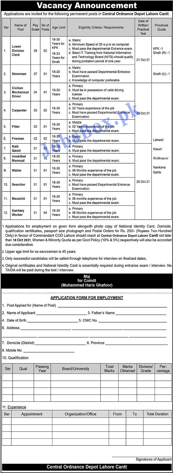 Pak Army Central Ordnance Depot Jobs 2021
