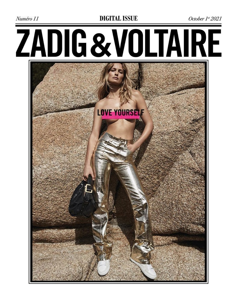 Posing topless, Edita Vilkeviciute fronts Zadig & Voltaire fall-winter 2021 campaign.