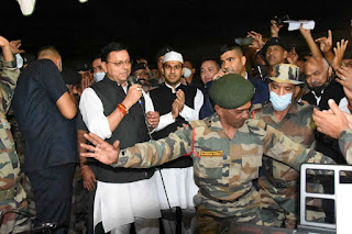 On territorial army  CM Pushkar Dhaani sing  a song with army jawaan