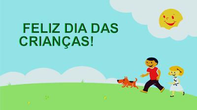 Nessa bela imagem está inscrito: Feliz dia das crianças! Nessa imagem mostra duas crianças no parque num lindo dia de sol radiante. O sol aprece numa nuvem rindo para elas que estão passeando com seu cãozinho de estimação. Elas estão felizes nesse dia mundial das crianças.