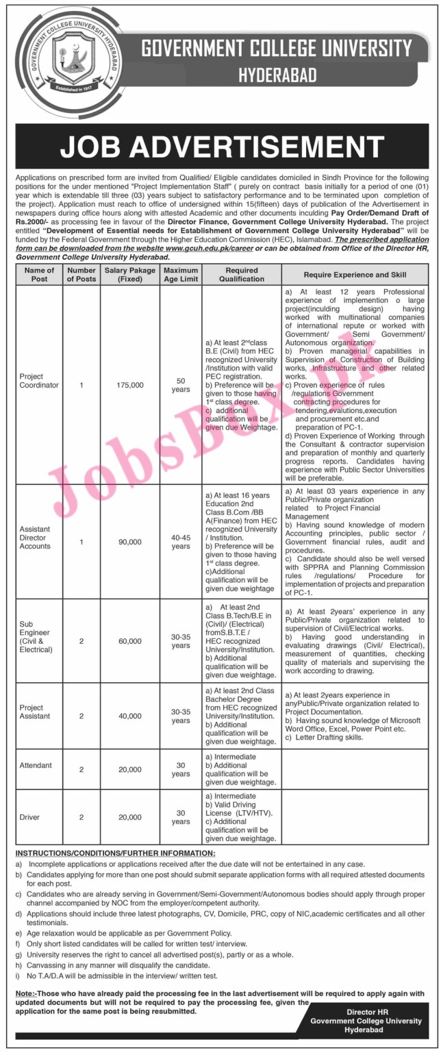 www.gcuh.edu.pk/careers - Government College University Hyderabad Jobs 2021 in Pakistan