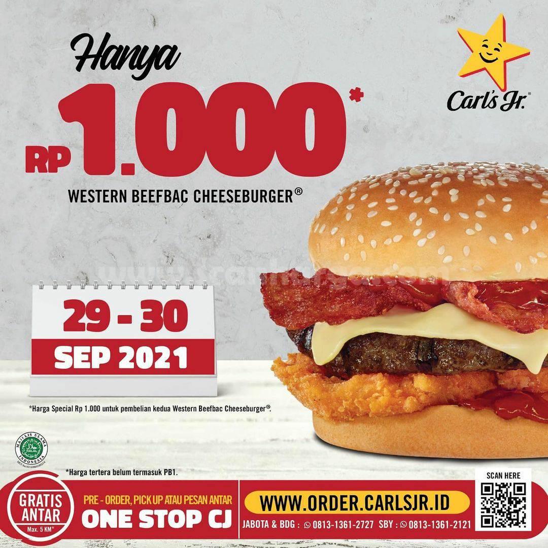 Promo Carls Jr Western Beefbac Cheeseburger HANYA Rp. 1.000 Aja 29-30 September 2021