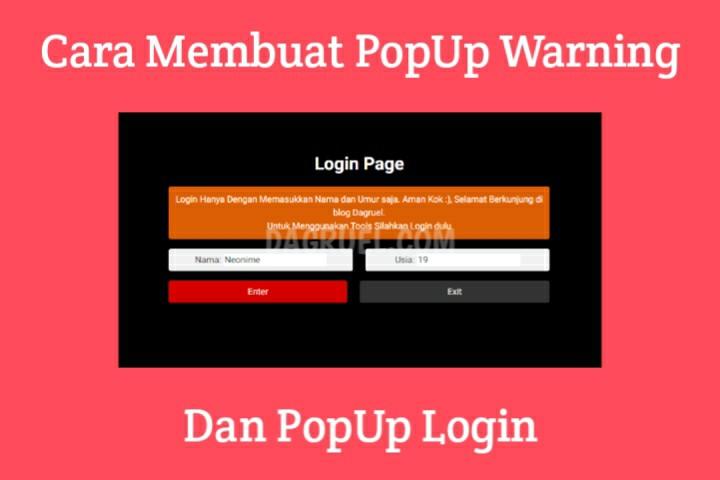 Popup Login dan Popup Warning