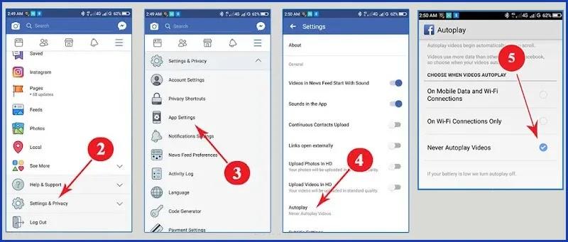 إيقاف تشغيل الفيديو تلقائيا في الفيس بوك