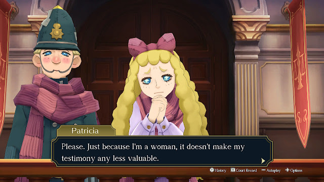 The Great Ace Attorney Adventures Patricia woman doesn't make my testimony any less valuable