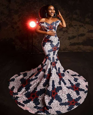 Latest off shoulder Ankara Gown Styles