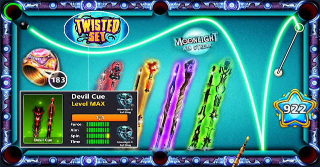 Moonlight Event 8 ball pool Twisted Cue Set Available this Month