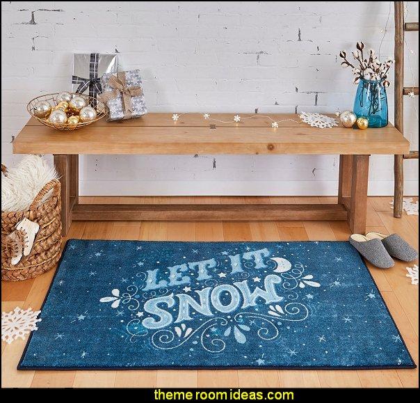 Let It Snow Area Rug christmas log cabin ski lodge decorations