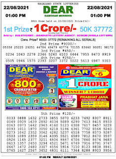 Nagaland lottery Result 22 August 2021,1PM